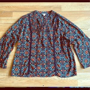 Tribal Print blouse with bell sleeves